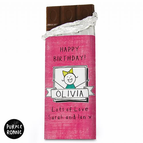 Personalised Purple Ronnie For Her Celebration Chocolate Bar